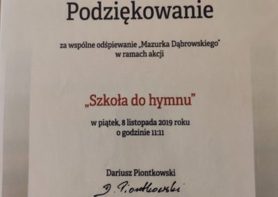 """Podziękowanie za wspólne odśpiewanie ,,Mazurka Dąbrowskiego"""""""