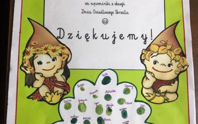 Podziękowanie dla firmy Decora  za upominki dla dzieci z okazji Dnia Osiedlowego Skrzata