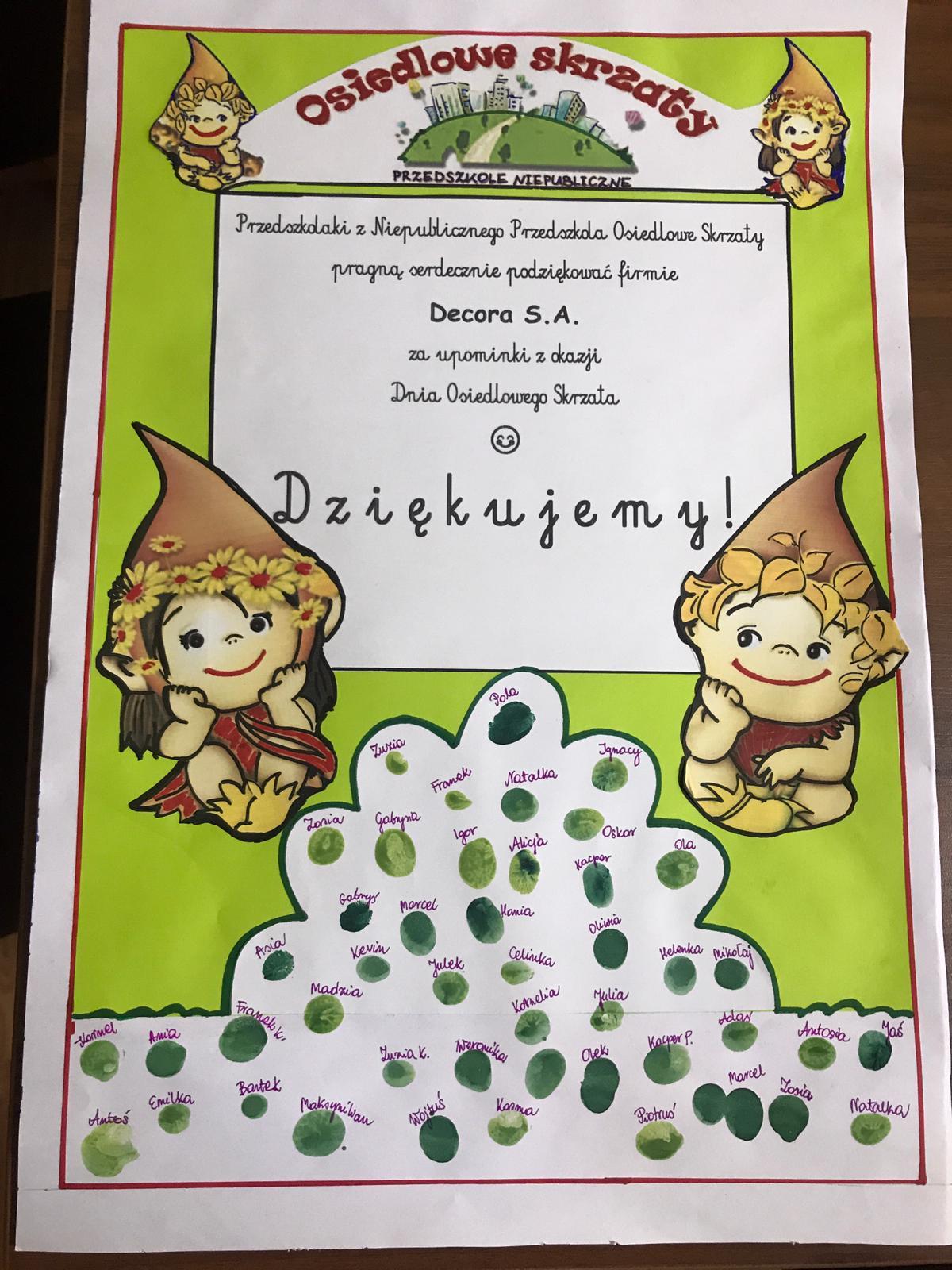 Ogromnie Podziękowanie dla firmy Decora za upominki dla dzieci z okazji AE49
